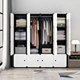 Koossy Portable Closet Clothes Wardrobe Bedroom Armoire Storage Organizer with Doors, Capacious & Sturdy, Black, 10 Cubes+2 Hanging Sections
