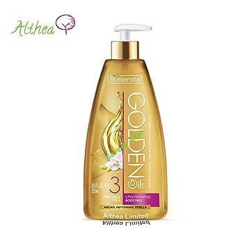 Golden aceites Ultra Nutritivo cuerpo leche perilla de Argán vitamina E Omega 3, Bielenda: Amazon.es: Belleza