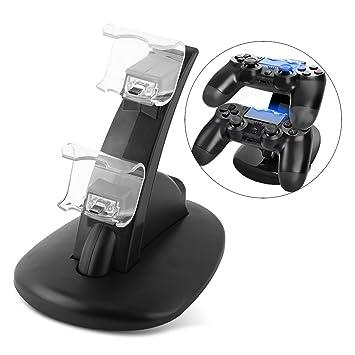 fosa Cargador PlayStation 4, Estación de Carga Dual de Mando PS4, Soporte con Puerto USB para PS4 Slim/Pro