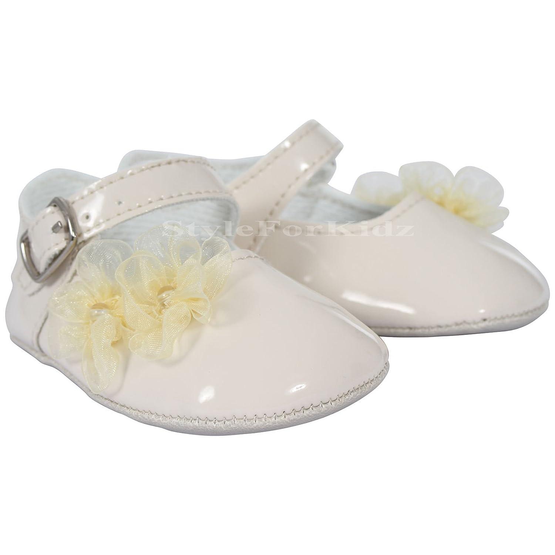 Soho Fashions Fiesta de ocasión de bautismo de niña de bautizo británica de lujo blanco/crema / rosa Recién nacido a 18 meses Botines/zapatos