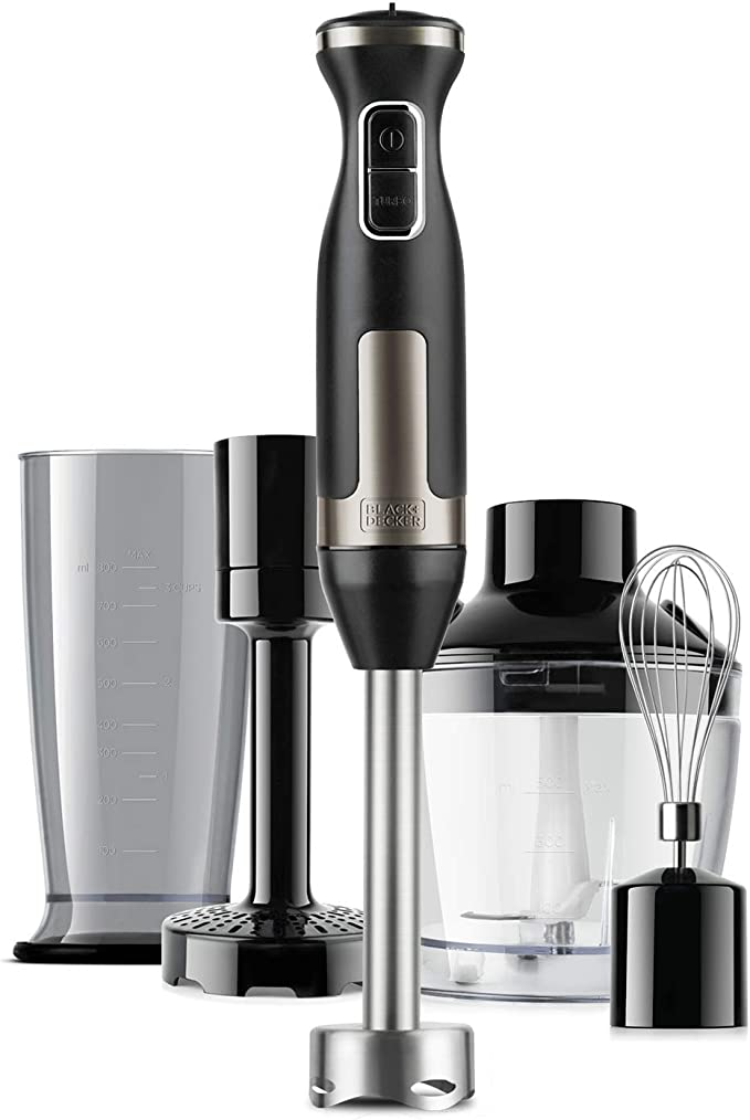 Black+Decker BXHBA1500E Batidora de mano en acero inoxidable con sistema antisalpicaduras y accesorio para puré, emulsionador, vaso picador y vaso medidor, 1500 W, 20 velocidades + turbo: Amazon.es: Hogar