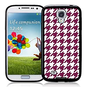 Houndstooth Pattern - Wine - Protective Designer BLACK Case - Fits Samsung Galaxy S4 i9500