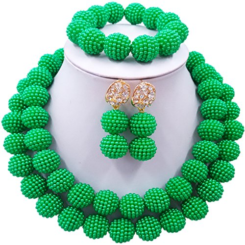 Brooch Earring Jewelry Set (laanc Womens 2 Rows Colour Imitation Pearl Plastic Ball African Beads Nigerian Gift Wedding Jewelry Sets (Green))