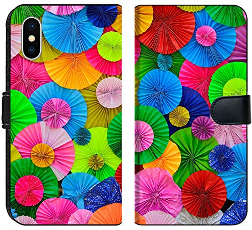 Luxlady iPhone X Flip Fabric Wallet Case Colorful circle pleat paper background IMAGE ID (Pleats Wallet)