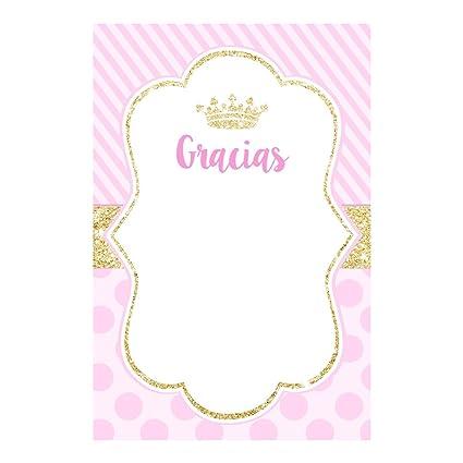 30 Tarjetas Princesa Agradecimiento Rosa Dorado Fiestas