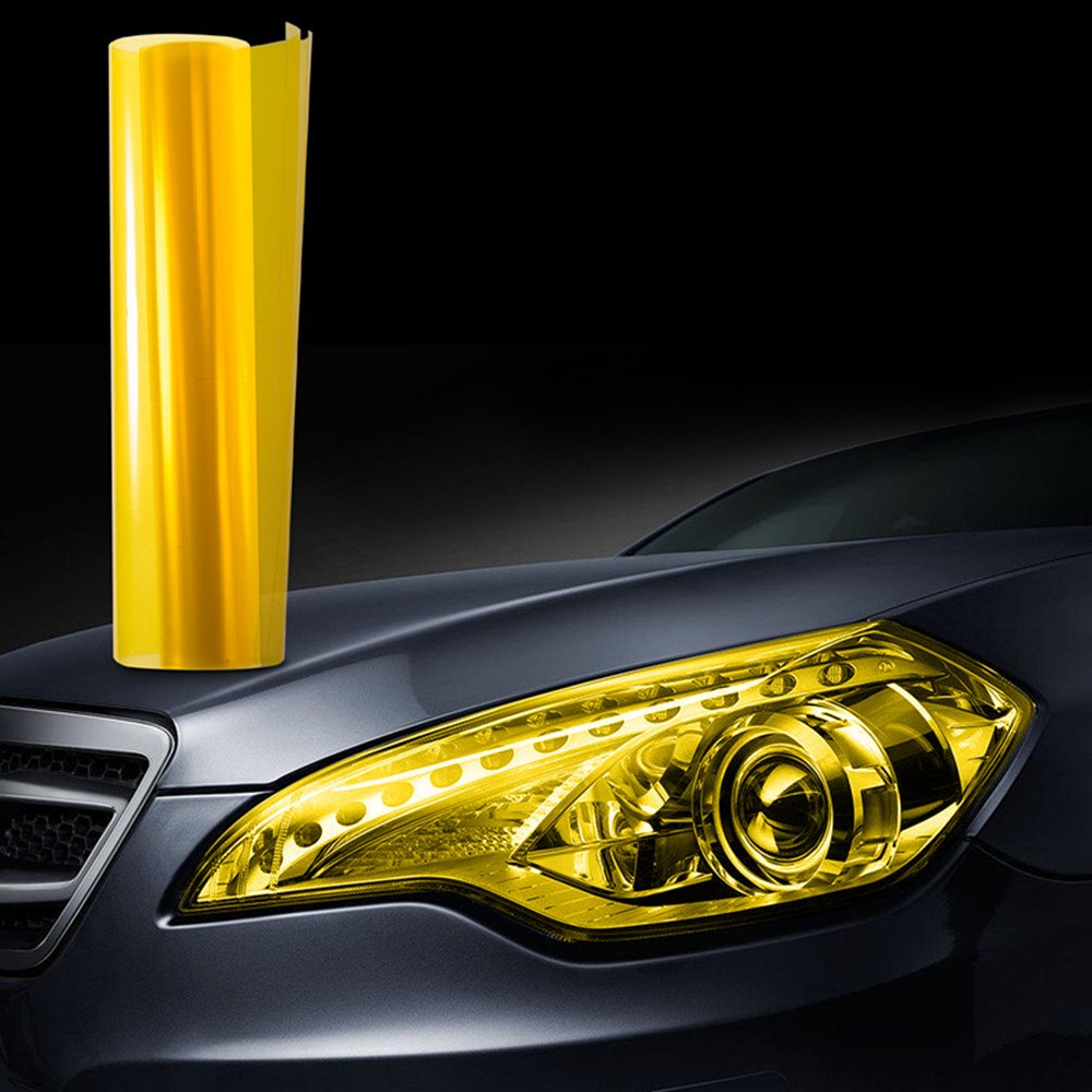 JZK® 30x100cm car motorcycle truck headlight rear light tail light fog light tint vinyl lights color changing decal sticker film cover, yellow