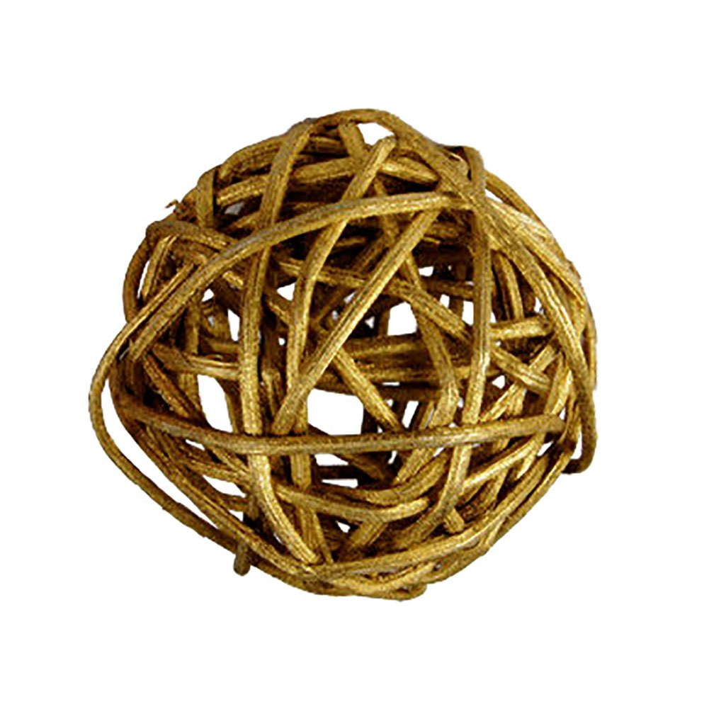"Custom & Fancy {2"" Inch} Approx 600 Pieces of Large Round Ball ""Table"" Party Confetti Made of Premium Rattan w/ Modern Contemporary Bright Shimmering Creative Natural Twig Stem Nest Design [Gold]"