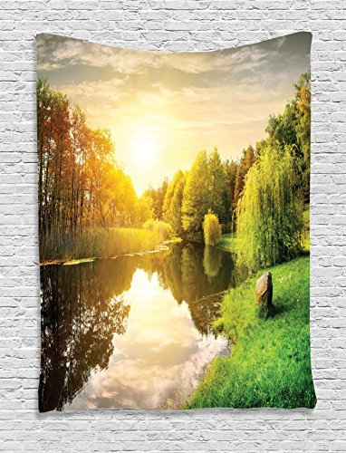 Willow Wall (Ambesonne Lake House Decor Collection, Sunset Over Calm River Grass Willow Trees Grass Rocks Reflection Light Clouds, Bedroom Living Room Dorm Wall Hanging Tapestry, Green Blue)