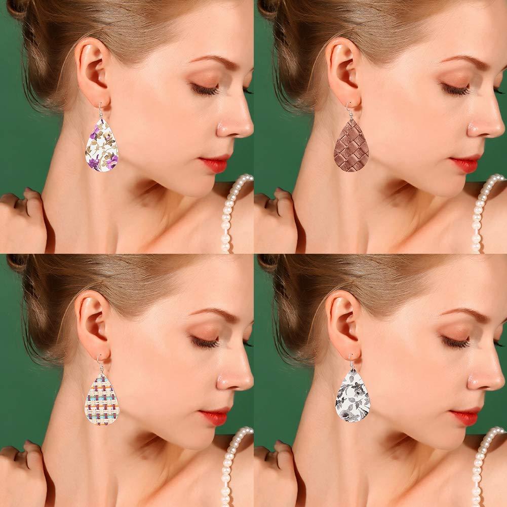 Platinum SUNNYCLUE DIY Make 10 Pairs Leopard Print Leather Leaf Teardrop Dangle Earring Making Starter Kit Jewelry Making Supplies for Women Girls Beginners