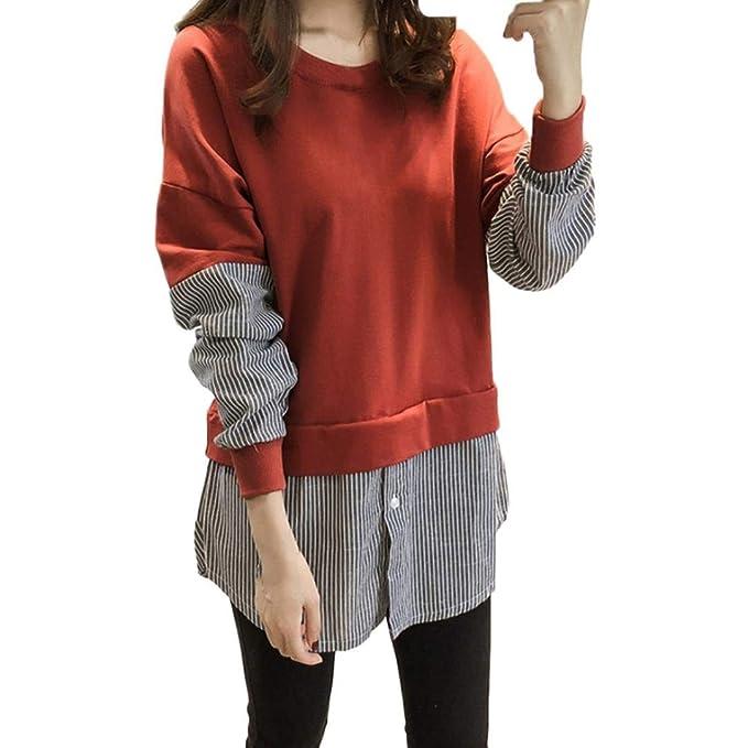 ASHOP Mujer Sudaderas, Deportivas Manga Larga Blusa Tops Corto Casual Sweatshirt Primavera y Otoño Invierno Botón de Empalme Rayado Sudaderas: Amazon.es: ...
