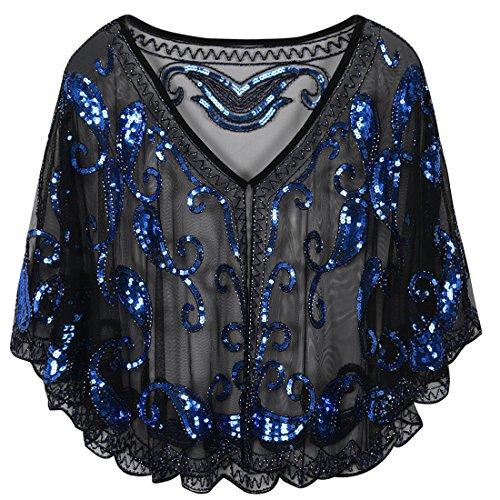 PrettyGuide Women's Evening Cape 1920s Paisley Cocktail Flapper Beaded Shawl Black Blue - Evening Dress Wrap