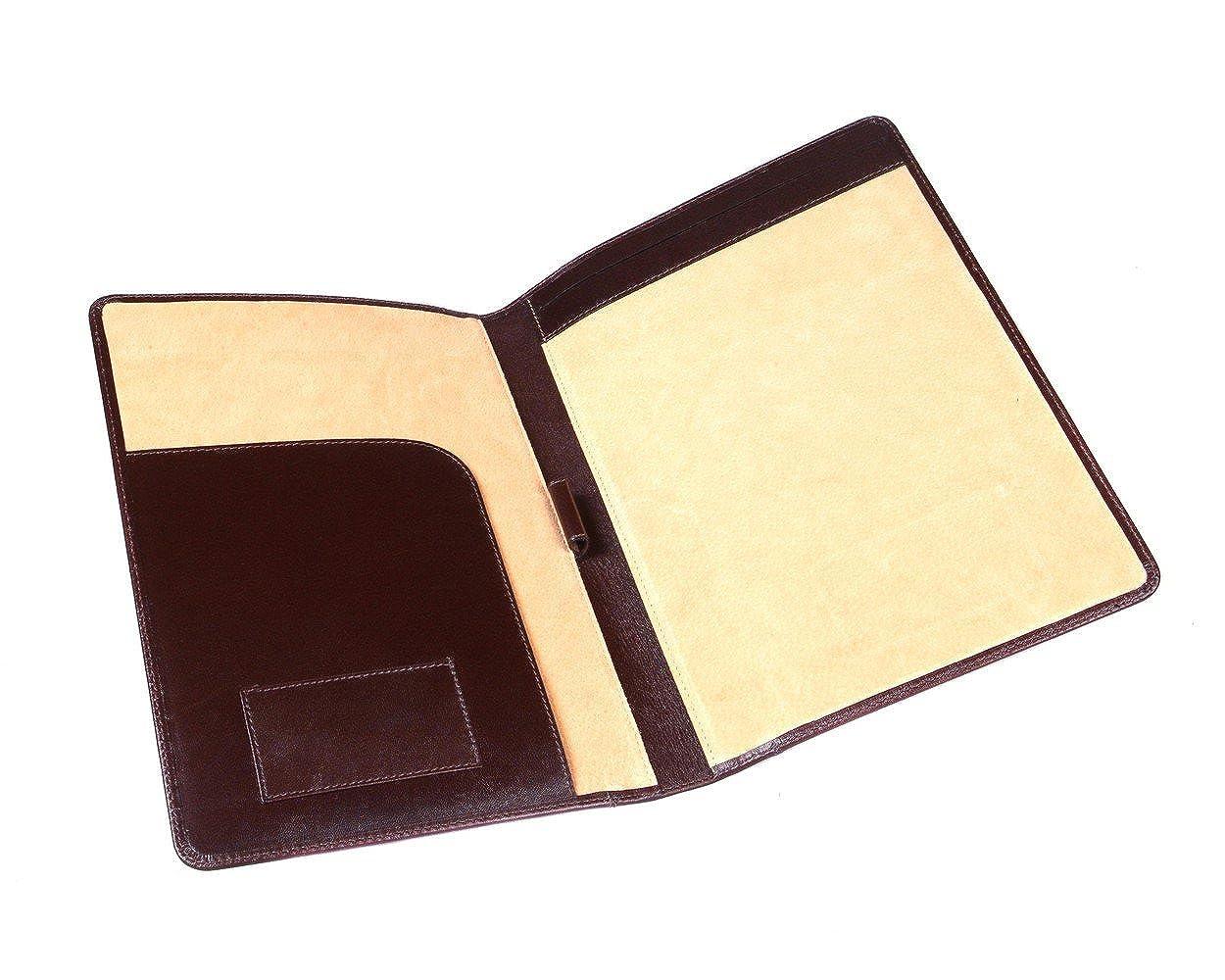 A4 Leather Folder Brown   B00CHMZUTK