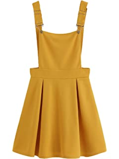 8d93c96159 Romwe Women s Cute A Line Adjustable Straps Pleated Mini Overall Pinafore  Dress