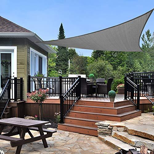 KANAGAWA 20 x20 x20 Sun Shade Sails Triangle Gray UV Block Canopy for Outdoor Patio Garden Backyard