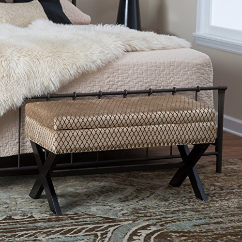(Neely Storage Bench with Nailheads, Solid Wood Frame)