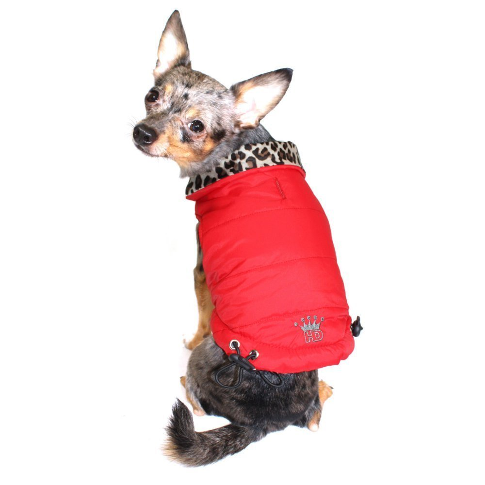 Hip Doggie Reversible Puffer Vest - Red/Leopard M