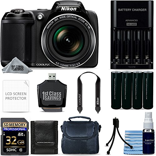 Nikon Coolpix L340 20.2 MP Digital Camera (Black) Ultimate Starters Kit 32GB