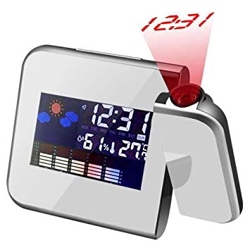 Colorida Reloj Despertador con Proyección, Proyección de Techo / Pared Relojes Digitales con Colourful Pantalla LCD Estación Meteorológica Termómetro ...