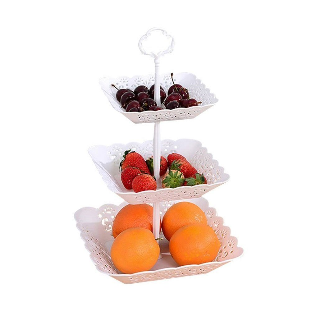 3-Tier Cake Stand and Fruit Plate Plastic Stand White for Cakes Desserts Fruits Candy Buffet Stand for Wedding & Home & Birthday Party Serving Platter (Square)