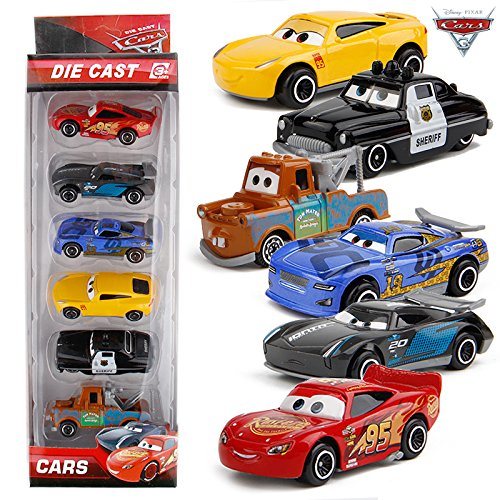 Metro Toys Cars 3 Diecast Metal Cars Toys Lightning McQueen Black Storm Jackson Toy Cars Boys (Set of 6)