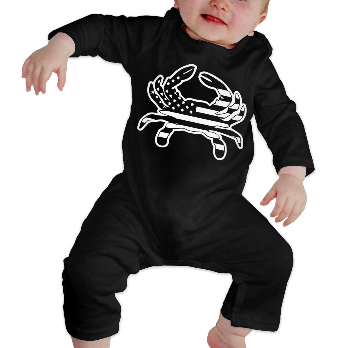 UGFGF-S3 Black and White American Flag Crab Baby Boy Girl Long Sleeve Bodysuit Jumpsuit
