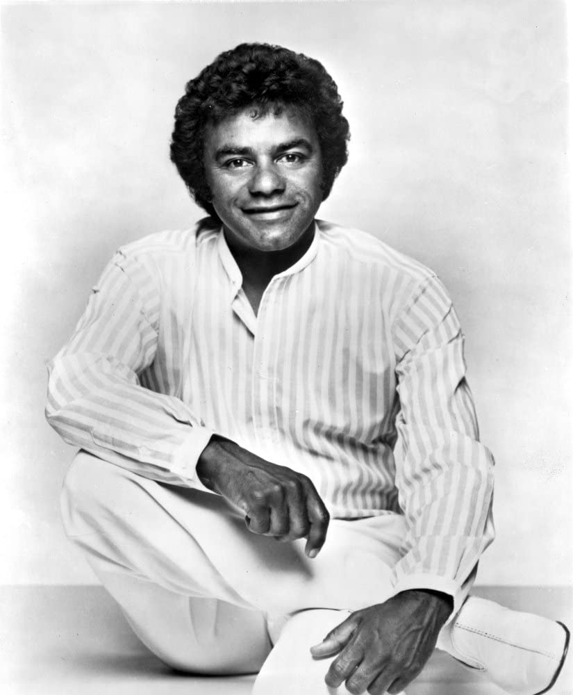 Johnny Mathis wearing a striped shirt Photo Print 8 x 10