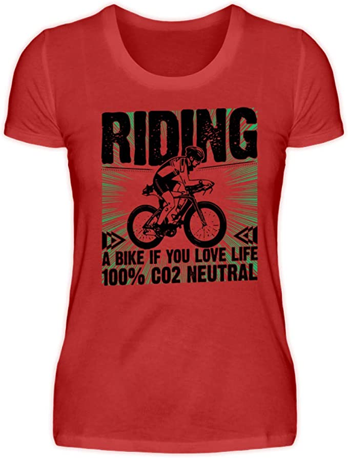 Generisch Riding a Bike if You Love Life - Camiseta para Mujer (100% CO2 Neutro) Rojo L: Amazon.es: Ropa y accesorios