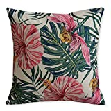 American Pillow Flamingoes and Palm Leaf Modern Art Cotton Linen Pillowcase Comfortable Cushions Decorative Pillows Home Decor Sofa Throw Pillow Cover 17.717.7 inches