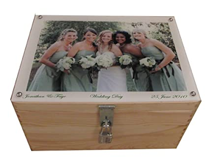 Extra Large Personalised Lockable Wooden Wedding Keepsake Or Memory