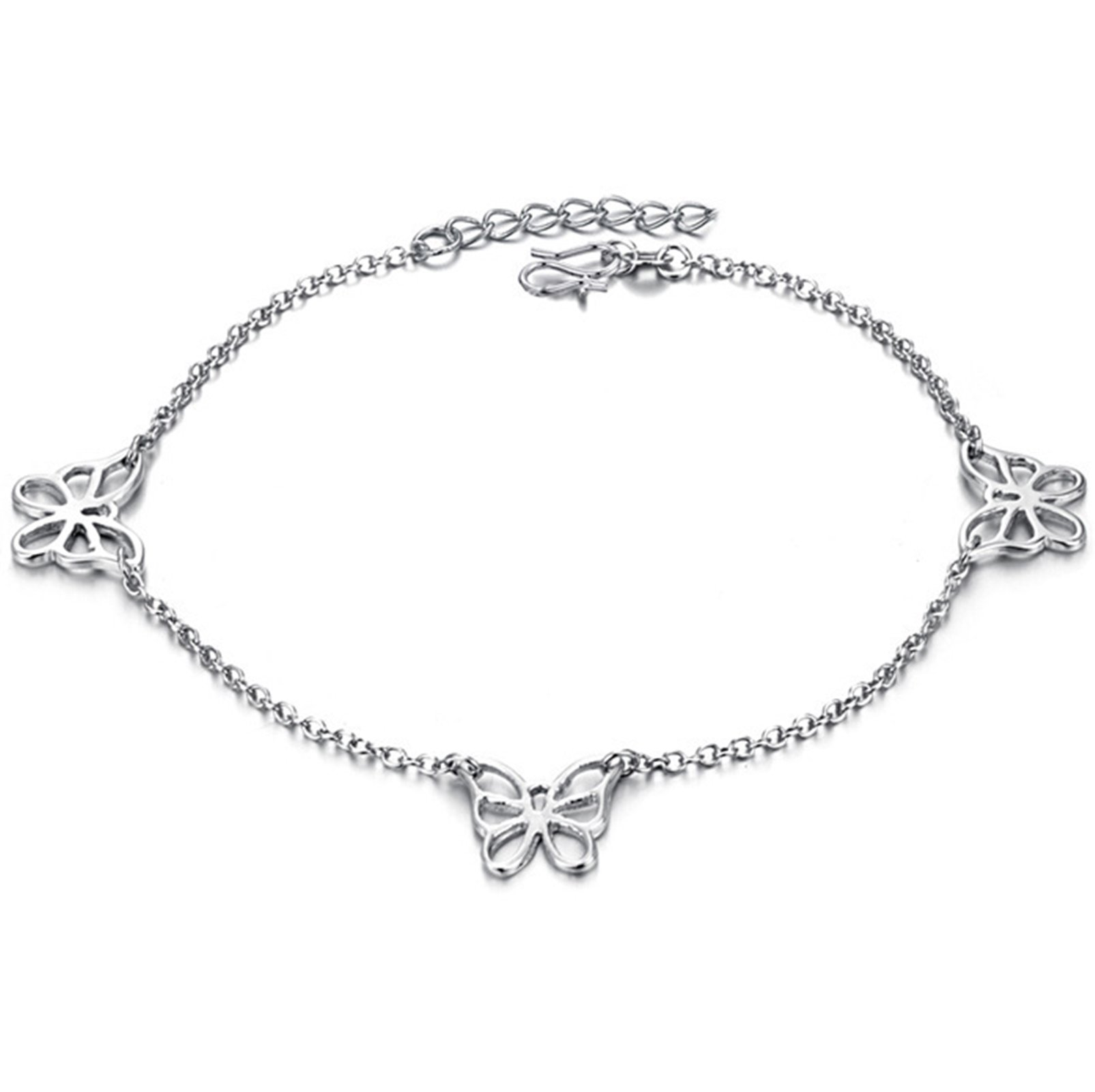 Beydodo Silver Ankle Bracelet Adjustable Bohemian Anklet Summer Gold Plated Butterfly Anklet