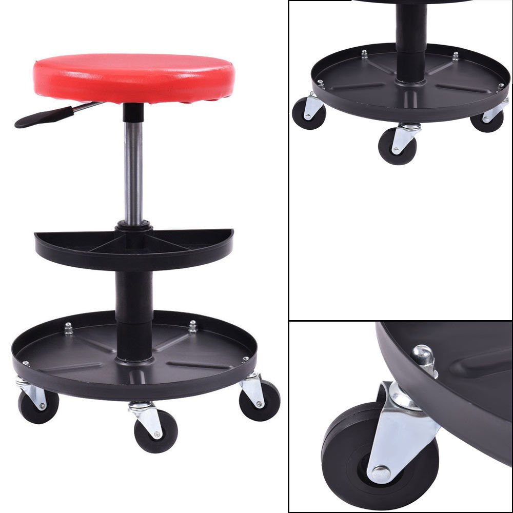 Automotive Repair Rolling Seat Mechanics Work Tools Storage Roller Chair Tray