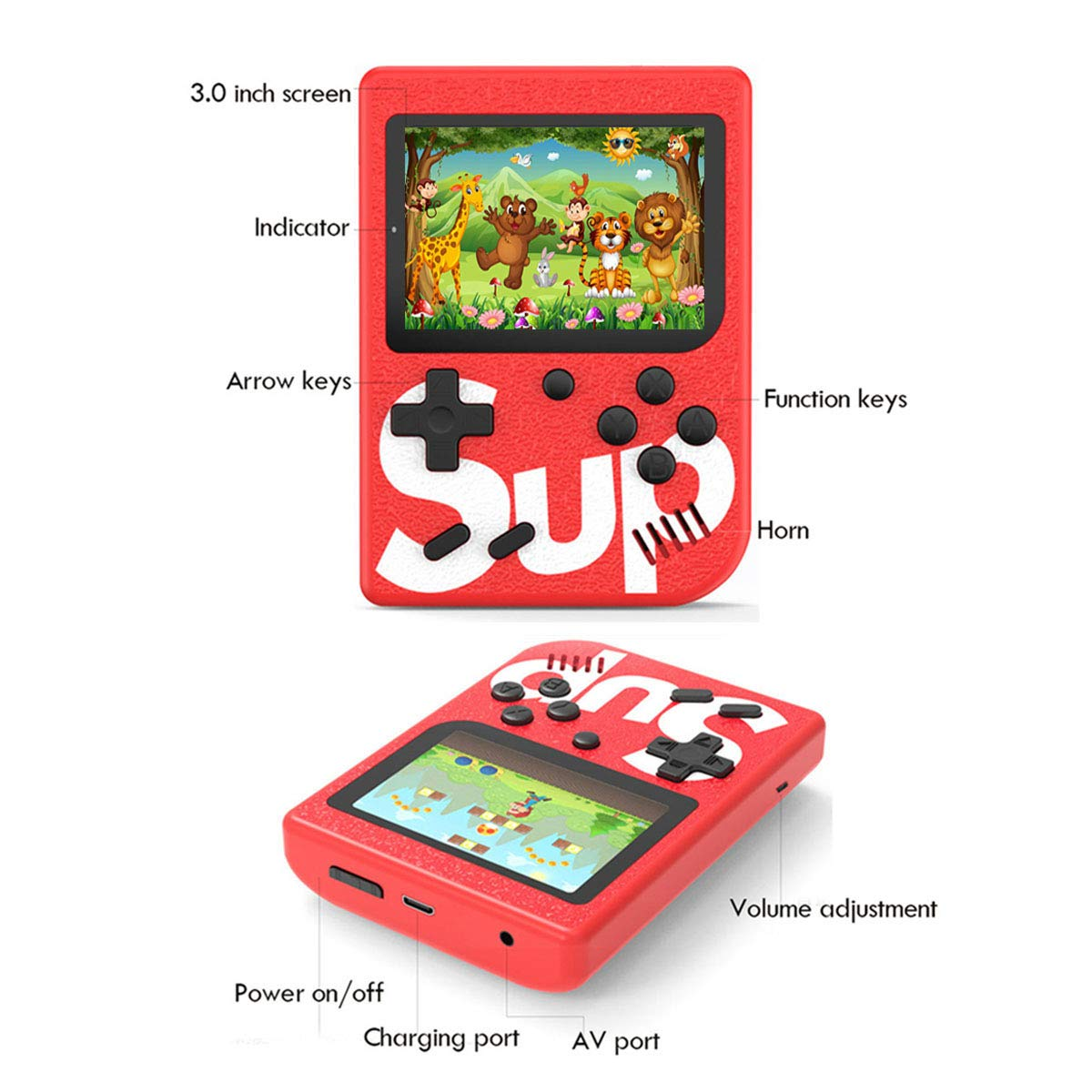 BYLGKE Handheld Games Console Built-in 400 Classic Games 3.0 Inch Screen Support for 2 Players Connecting TV Great for Kids// Adult