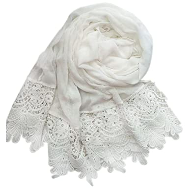 212ab5598bf8 Republe Bord Floral Tassel femmes fille Swallow Tail foulard Hijab Wrap  dentelle de coton couleur unie
