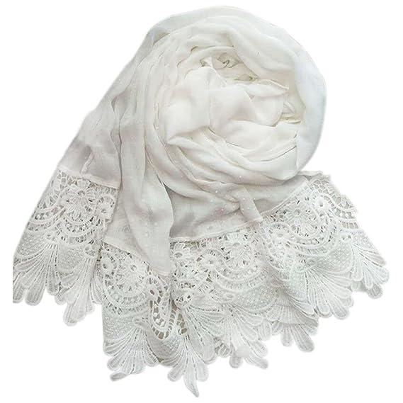 985892ffe5487 Republe Bord Floral Tassel femmes fille Swallow Tail foulard Hijab Wrap  dentelle de coton couleur unie