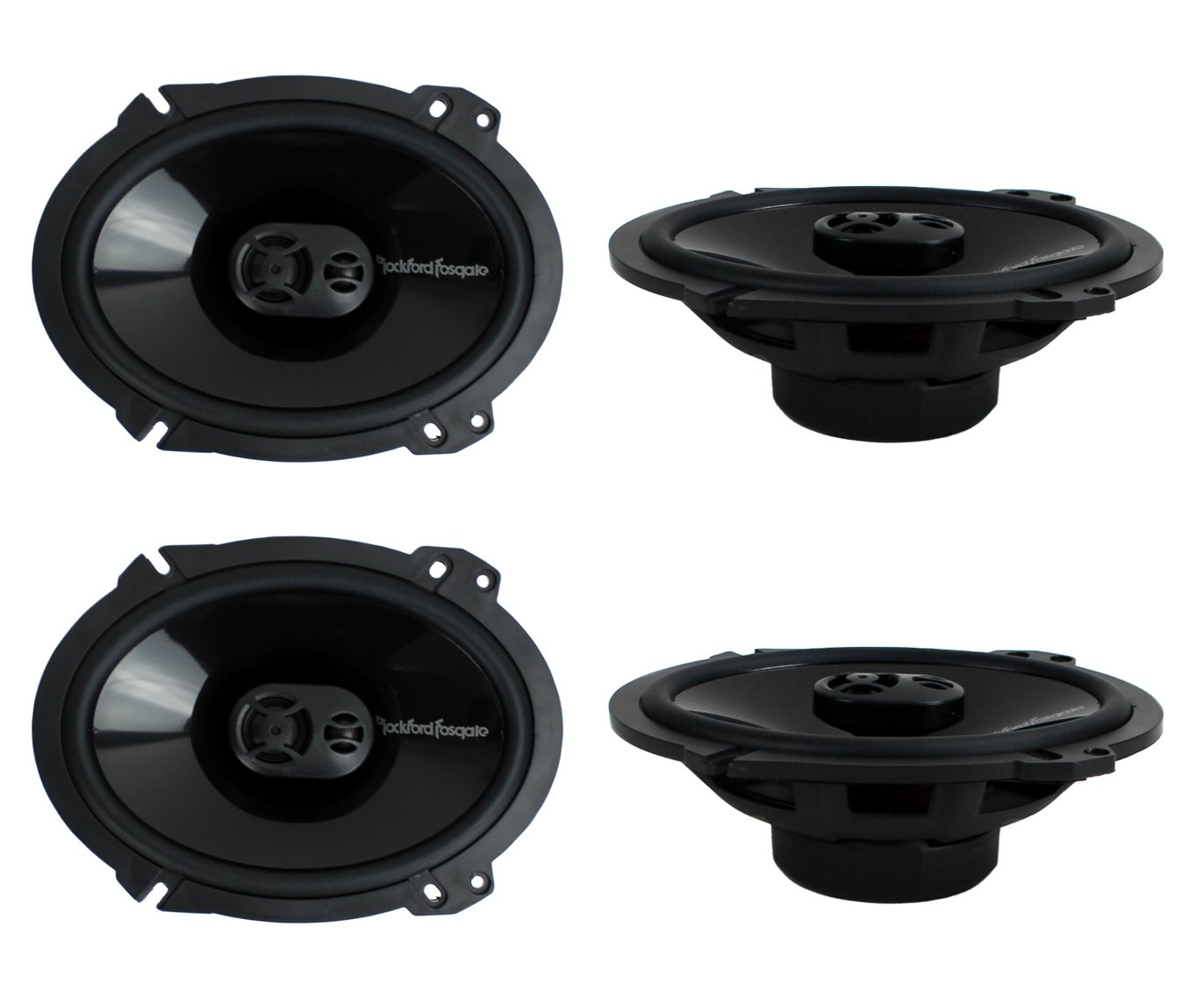 2 Pairs of Rockford Fosgate Punch P1683 260W Peak (130W RMS) 6'' x 8'' Punch Series 3-Way Full Range Coaxial Speakers + Gravity Phone Magnet Holder by Rockford Fosgate