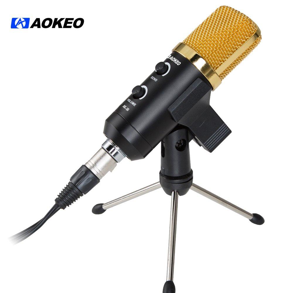 Aokeo AK-30 Micrófono de condensador USB profesional con soporte de clip de mariposa, trípode de escritorio, XLR hembra