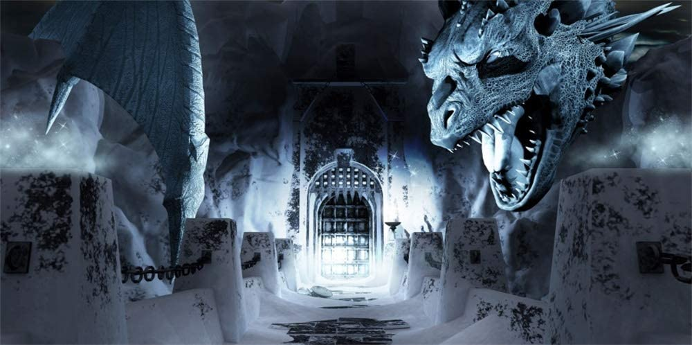 AOFOTO 15x8ft Fantasy Cruel Dragon Magic Castle Interior Backdrop Halloween Decorations Fairy Tale Gothic Tower Ice and Snow Cold Fortress Cave Background for Photography Photo Studio Props Vinyl