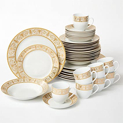 Brylanehome 40-Pc. Golden Ceramic Dinnerware Set (Gold White) & Amazon.com | Brylanehome 40-Pc. Golden Ceramic Dinnerware Set (Gold ...