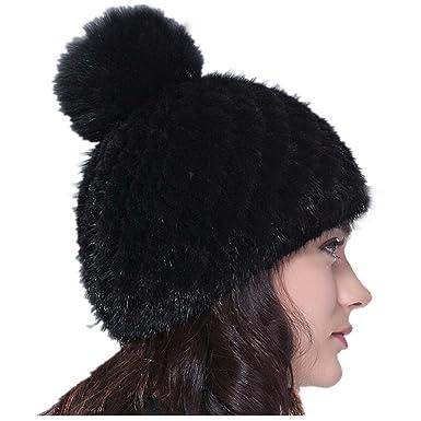 eb7b97329f6 qmfur Women Winter Knited Hat Beanies Cap Knitted Mink Fur Hand Made Hat  With Fox Fur