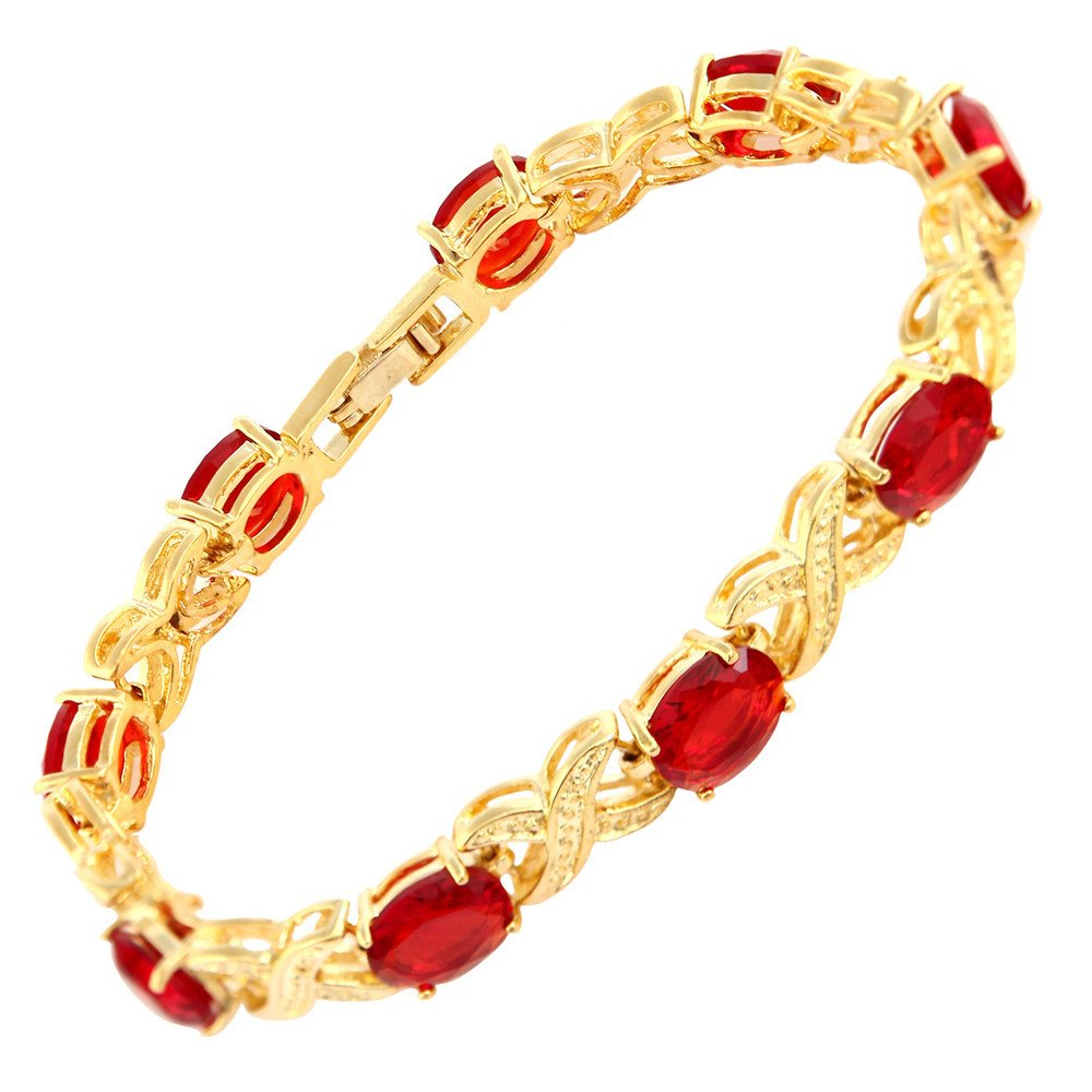 [RIZILIA XOXO Link] Tennis Bracelet & Oval Cut CZ [5 Colors available] in Gold Plated, 7 7 LB1038RED