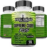 Supreme Cider Plus Powerful Extra Strength Apple Cider Vinegar Detox Cleanse & Digestion Support, ACV Plus Vitamin B6 Spirulina Lecithin Kelp Bromelain & More 90 Extra Strength Apple Vinegar Capsules