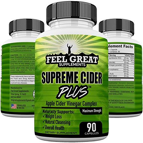 (Supreme Cider Plus Powerful Extra Strength Apple Cider Vinegar Detox Cleanse & Digestion Support, ACV Plus Vitamin B6 Spirulina Lecithin Kelp Bromelain & More 90 Extra Strength Apple Vinegar)