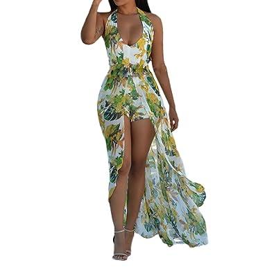 80a3cf4006 Petalum Women Maxi Dress Sleeveless V-Neck Backless Shorts Tunic Printed  Flower Floral Casual Loose Jumpsuit Beach Playsuit Summer Irregular Overlay  ...
