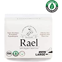 Rael Organic Cotton Menstrual Large Pads - 2Pack/ 24 Total - Ultra Thin Natural Sanitary Napkins With Wings 2 Pack