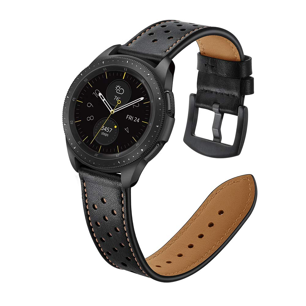 22mm Watch Band, OXWALLEN Leather Watch Band, Quick Release Soft Watch Strap Black with Stainless Buckle