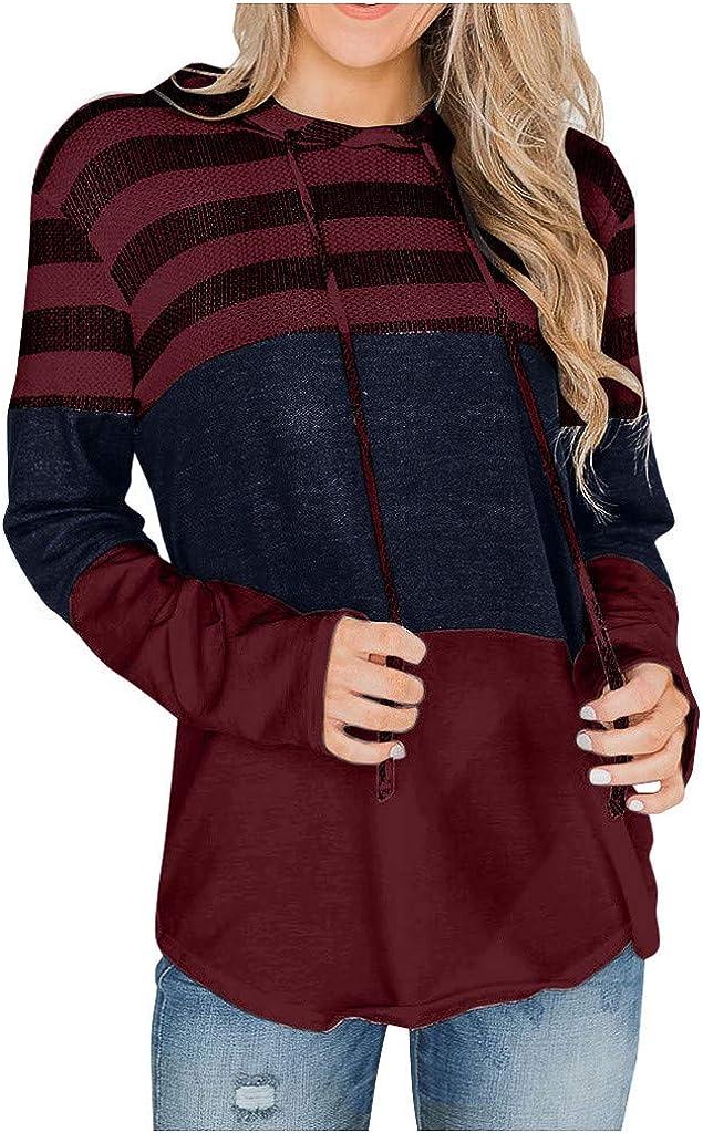 Women Sweatshirts and Hoodies Long Sleeve Knit Drawstring Sweatshirts Shirts Color Block Striped Pullover Tops