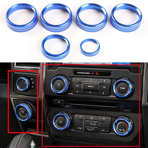 6pcs Aluminum Alloy Car Inner Air Conditioner & Trailer & 4WD Switch Knob Ring Cover Trim For Ford F150 2016 2017 (Blue Whole Set Knob Cover) (Cover Set Knob)