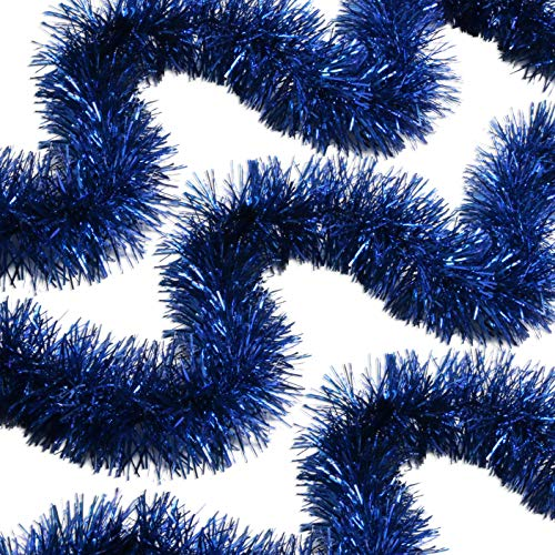 Royal Blue Tinsel Garland Celebrate a Holiday Christmas New Years Eve Party Indoor and Outdoor Decorations Blue Green Silver Christmas Trees