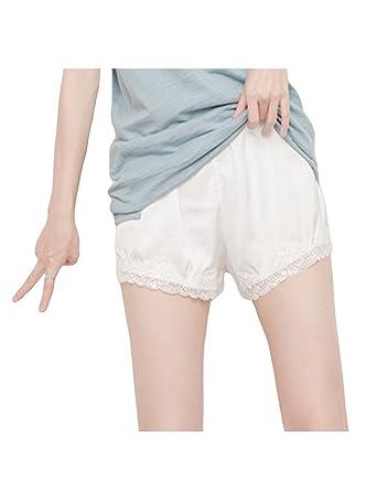 dentelle cuisse de protection Blanc Femme Unique Taille Bestgift Pantalon courte de Short Mi zUqYa