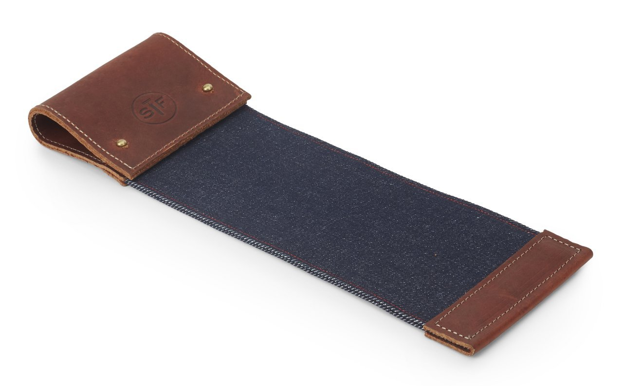 ShaveFace Genuine Leather Strop For Disposable & Safety Razors - Double Sided for Honing and Cleaning Blades